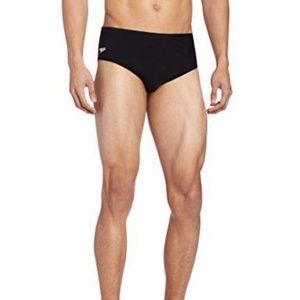 Speedo Men's Endurance Solid Brief Swimsuit Black